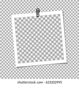 Photo frame with staple on grey backgrounrd. Vector template, blank for trendy and stylish photo or image