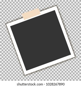 Photo frame with sticky tape on gray background. Template, blank for your trendy photo