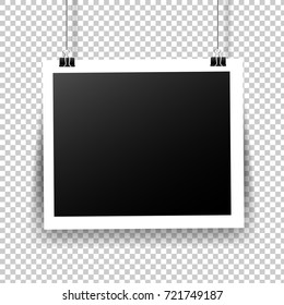 Photo Frame With Tape In Transparent Background Gradient Mesh, Vector Illustration