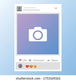 Photo frame template for friends internet sharing. Social media notifications. Vector illustration. Mock up. Isolated