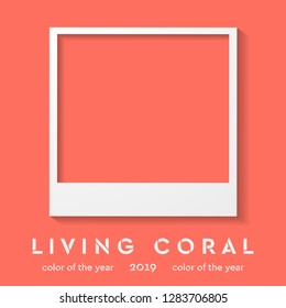 Photo frame with trendy color 2019. Living coral vector background. Polaroid style imitation