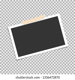 Photo frame, vector with adhesive tape, sticky tape. Template. Vector illustration