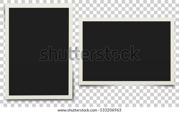 Фоторамка. Белая пластиковая рамка на прозрачном фоне. Векторная иллюстрация.