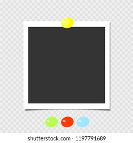 Photo frame with yellow pin. Template. Vector illustration