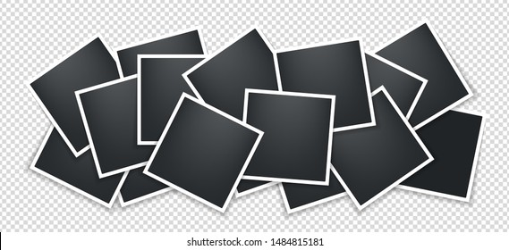 Photo frames collage. Square frame template with shadows isolated on transparent background. Vector illustration