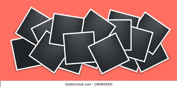 Photo frames collage. Square frame template with shadows isolated on living coral background. Vector illustration