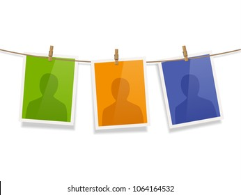 Photo frames fixed on the rope with clothespins. Vector.
