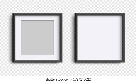 Photo Frames isolated on white, realistic square black frames mockup, vector set . Empty framing for your design. Vector template for picture, painting, poster, lettering or photo gallery