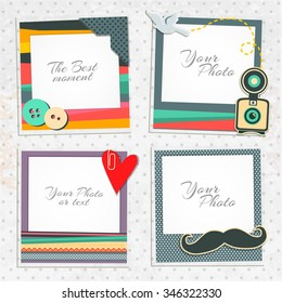 Photo frames on nice background. Decorative template for baby, family or memories. Scrapbook concept, vector illustration. Hipster style