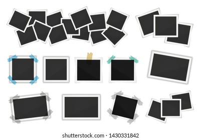 Photo frames pack. Square polaroid frame template with shadows isolated on white background. Vector polaroid illustration