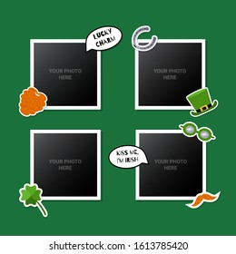 Photo frames set decorated with St. Patrick's Day stickers. Great for scrapbooking or memory album. Vector illustartion.