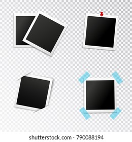 Photo frames set with insertion in slits push pin and scotch on transparent background isolated vector illustration