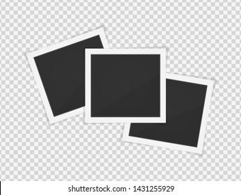 Photo frames. Square frame template with shadows isolated on transparent background. Vector illustration