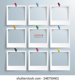 Photo frames with thumbtacks on the gray background. Eps 10 vector file.