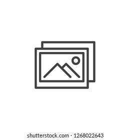 Photo gallery outline icon. linear style sign for mobile concept and web design. Image gallery simple line vector icon. Symbol, logo illustration. Pixel perfect vector graphics
