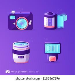 Photo gradient icons set