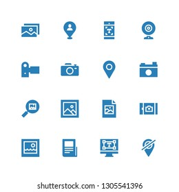 photo icon set. Collection of 16 filled photo icons included Placeholder, Typography, Text lines, Picture, Jpeg, Image, Camera, Camcorder, Webcam