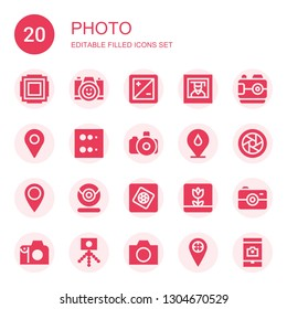 photo icon set. Collection of 20 filled photo icons included Focus, Photo camera, Diaphragm, Photography, Camera, Placeholder, Blur, Webcam, Photoshop elements, Macro