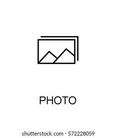 Photo icon. Single high quality outline symbol for web design or mobile app. Thin line sign for design logo. Black outline pictogram on white background