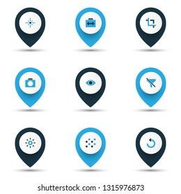 Photo icons colored set with remove red eye, switch cam, capture and other center focus elements. Isolated vector illustration photo icons.