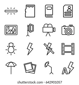 Photo icons set. set of 16 photo outline icons such as resume, camera, studio umbrella, soft box, camera bulb, flash, no flash, auto flash, memory card, picture