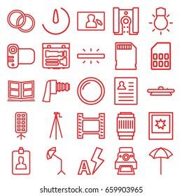 Photo icons set. set of 25 photo outline icons such as camera, clipboard, camera zoom, studio umbrella, soft box, memory card, auto flash, resume