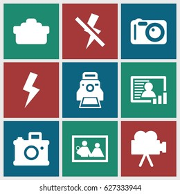 Photo icons set. set of 9 photo filled icons such as camera lense, flash, no flash