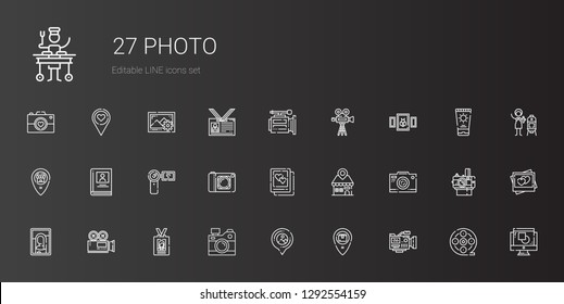 photo icons set. Collection of photo with video camera, placeholder, camera, id card, picture, photo camera, camcorder, biography, graphic design. Editable and scalable icons.