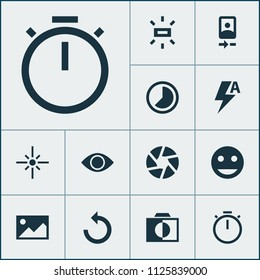 Photo icons set with reload, image, tag face and other chronometer elements. Isolated vector illustration photo icons.