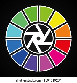 Photo lens with RGB colors (vector logo)