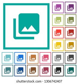 Photo library flat color icons with quadrant frames on white background