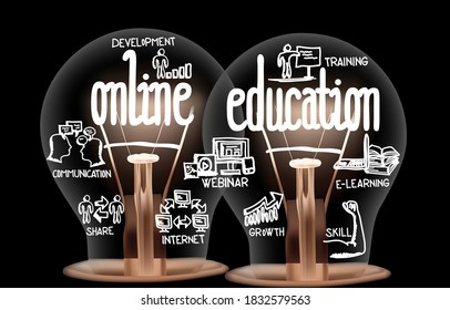 Photo of light bulbs with shining fibers in a shape of Online Education, E-learning, Training and Internet concept related words isolated on black background
