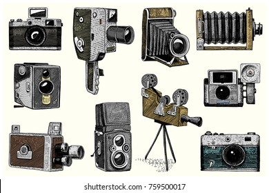 Camera Vintage Vector Png : Evolution photo video film movie camera stock vector royalty free