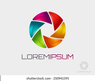 Photo logo template. Colorful diaphragm icon. Vector illustration.