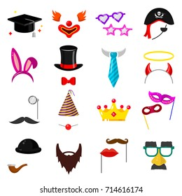 Photo party mask set. Birthday fancy dress, face kits for masquerade fun, photo booth elements for decoration. Photo mask icon flat style cartoon illustration isolated on white background