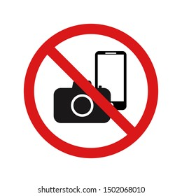 Photo and phone forbidden warning sign vector illustration on white background