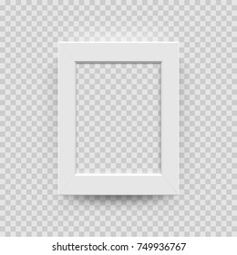 Photo picture frame white paper, plastic or wooden 3D template isolated on transparent background. Vector vertical square photo frame box model for interior design.