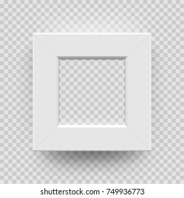 Photo picture frame white paper, plastic or wooden 3D template isolated on transparent background. Vector square photoframe box model for interior design.