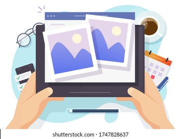 Photo picture online album and digital gallery watching on website or internet electronic photography images files on digital tablet computer network vector flat cartoon illustration