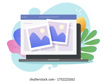 Photo picture online album and digital gallery watching on website or internet electronic photography images files on pc laptop computer network vector flat cartoon illustration