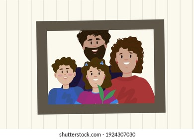 Photo portrait of the family. Cartoon photo of parents and children. Family photo of happy mom, dad, daughter and son. Drawn in a vector by hand. Vector illustration