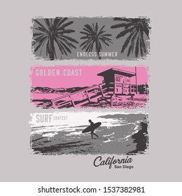 Photo print California illustration, tee shirt graphics, vectors