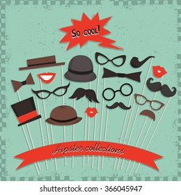 Photo props collections. Best accessories for party. Vector
