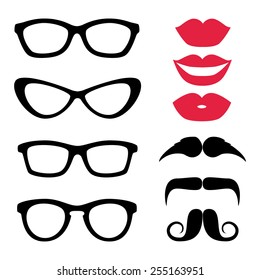 Photo Props Icon Set, Glasses, Lips, Mustache