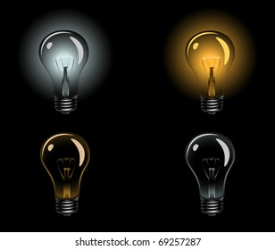 Photo realistic light bulb set. Vector illustration.