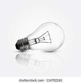 Photo realistic lightbulb in editable vector format
