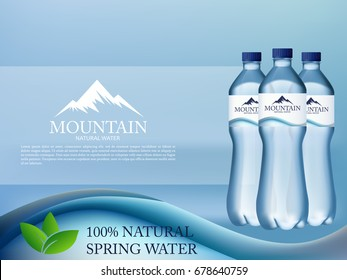 Photo Realistic Mineral water in plastic bottle advertising in editable vector format. 3d illustration