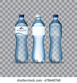 Photo Realistic Mineral water in plastic bottles in editable vector format. 3d illustration