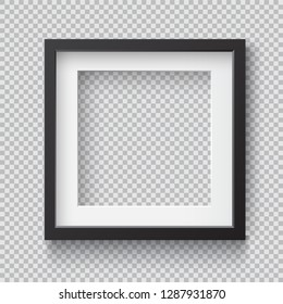 Photo Realistic Square Black Blank Picture Frame, hanging on a Wall from the Front. 