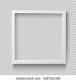 Photo Realistic Square White Blank Picture Frame, hanging on a Wall from the Front. 